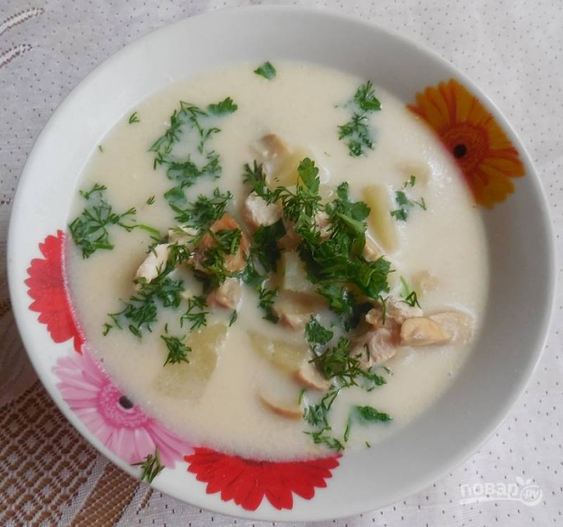 Сырный суп с мясом