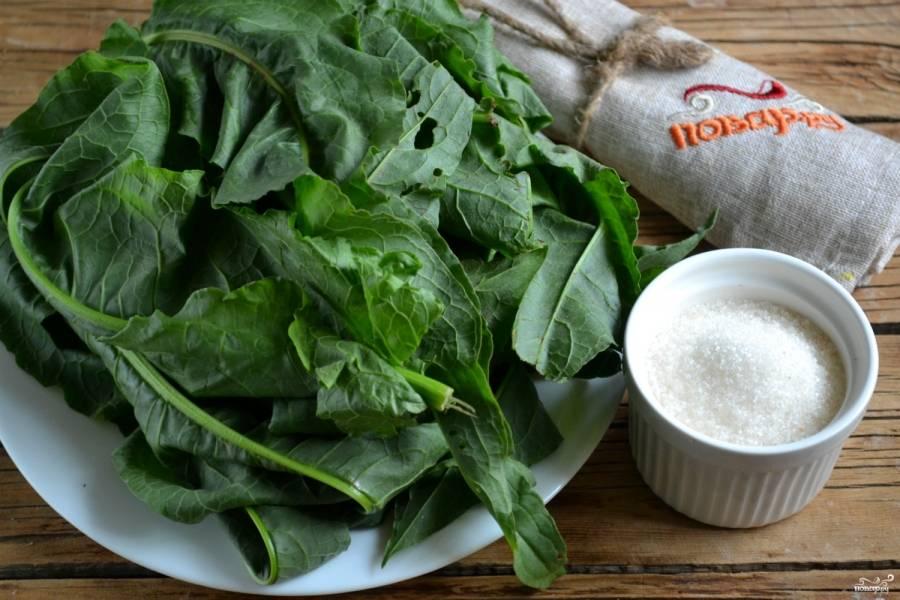 Подготовьте все необходимые для будущего блюда ингредиенты. Щавель промойте, удалите поврежденные листья.