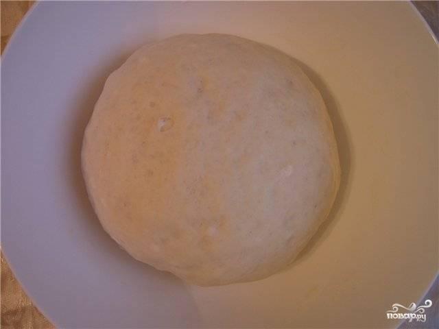 Смешайте 150 граммов муки, 100 граммов воды и дрожжи, дайте опаре подойти (приблизительно 40 минут - час). Потом добавьте в опару остаток воды, муки еще граммов 110 и соль. Перемешайте.