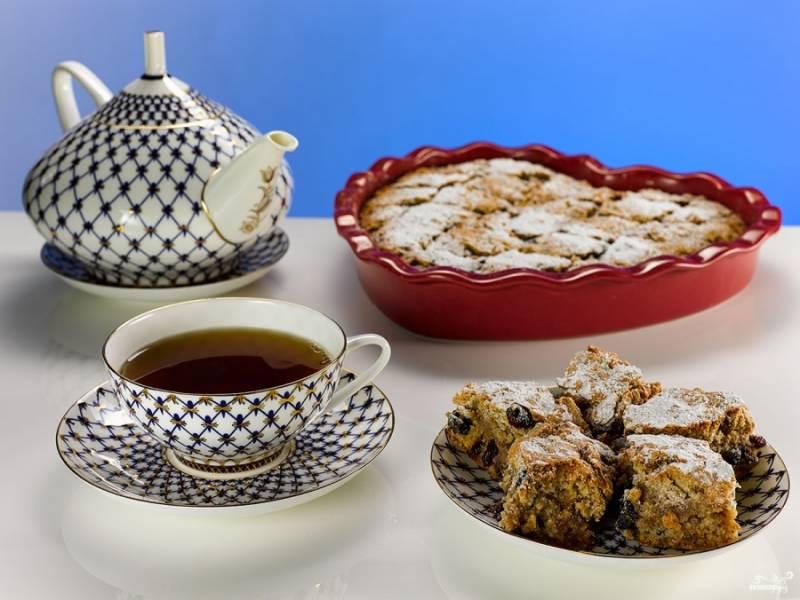 """Готовый кекс """"Мазурка"""" с сухофруктами и орехами подавайте к чаю или кофе. Приятного аппетита!"""