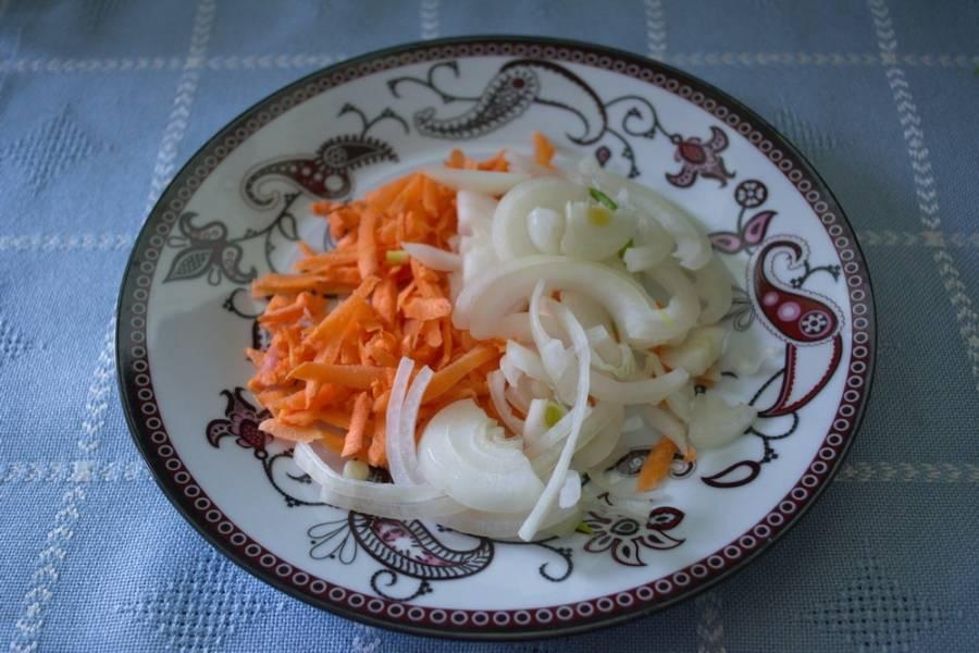 Репчатый лук нарезать, морковь натереть на терке.