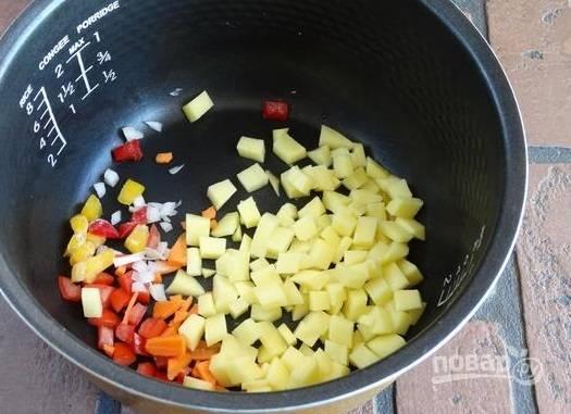 3. На дно чаши мультиварки отправьте чуточку масла и выложите измельченные овощи.