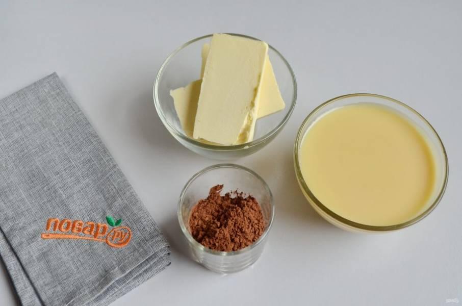 8. Подготовьте продукты для крема: масло комнатной температуры, какао и сгущенка.