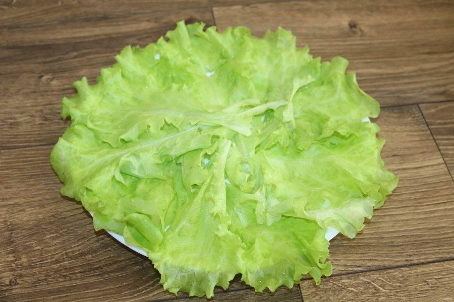 На тарелку выложите вымытые и высушенные листья салата.