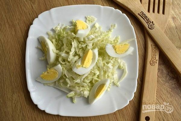 Нашинкуйте капусту, нарежьте очищенное яйцо ломтиками, выложите капусту и яйцо на блюдо для подачи.