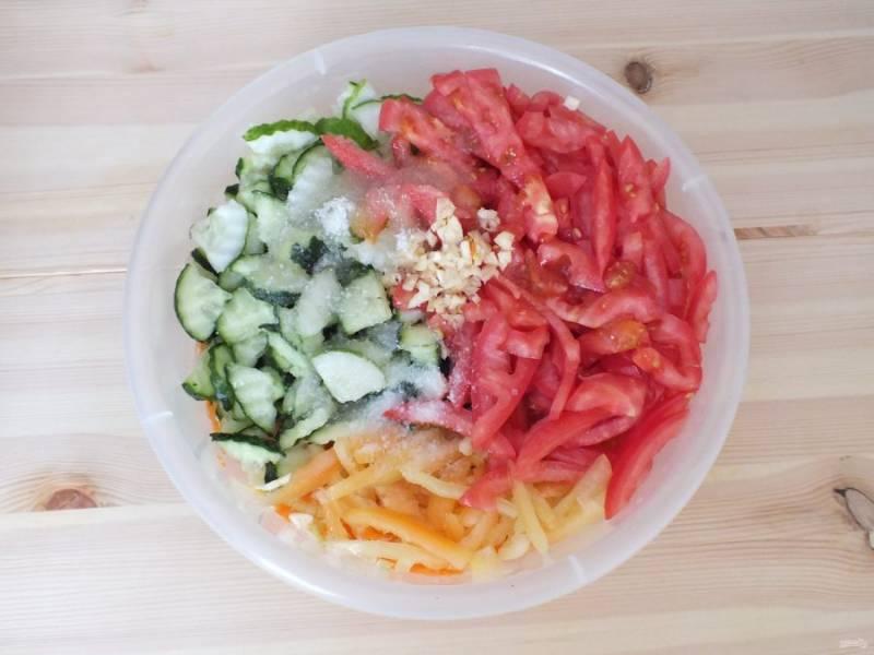 Нарежьте огурцы четвертинками, перец и помидоры соломкой, измельчите чеснок. Переложите в чашу с овощами, добавьте воду, соль, сахар, черный перец, масло растительное и уксусную эссенцию.