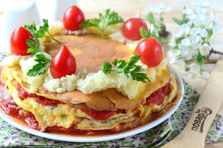 Слоеный омлет на завтрак