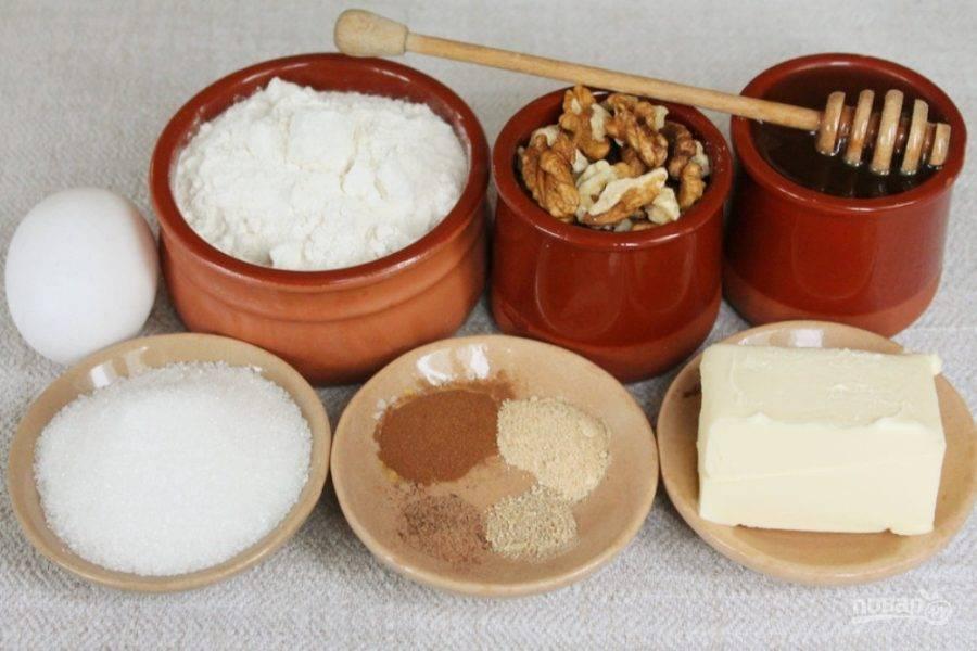 Подготовим ингредиенты для пряничного теста.