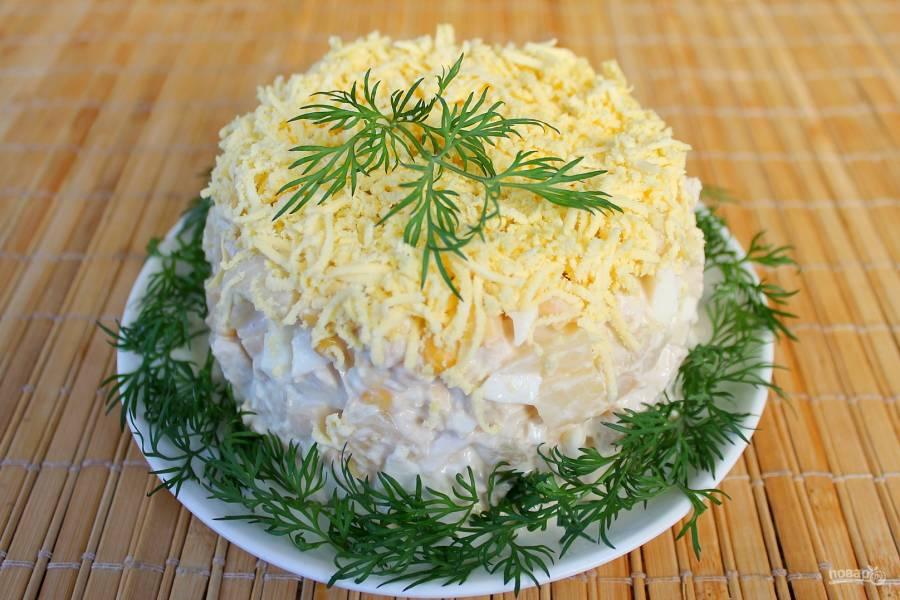 Салат из курицы с ананасами (классический)