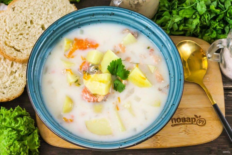 Разлейте горячий суп в тарелки и пригласите своих близких к столу.