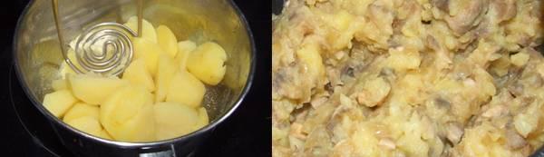 Картофель очищаем и отвариваем до готовности в подсоленной воде, затем разминаем его со сливочным маслом в пюре и смешиваем с грибной начинкой.