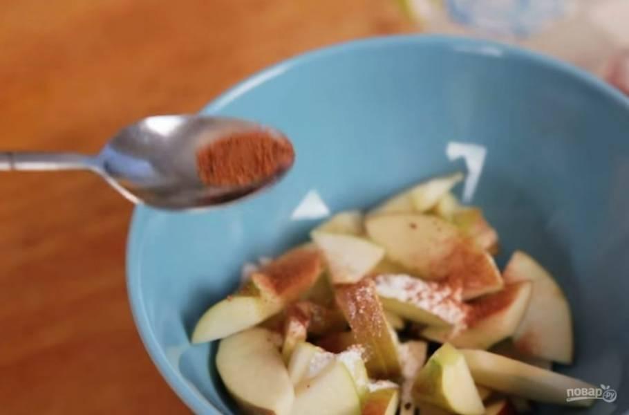 1. Для начала очистите яблоко от середины и нарежьте небольшими тонкими ломтиками. Поместите их в миску и посыпьте сахарной пудрой с корицей.