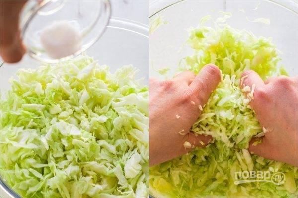 3. Нашинкуйте капусту, посолите ее щепоткой соли. Добавьте к капусте мелко нарезанный лук и укроп.