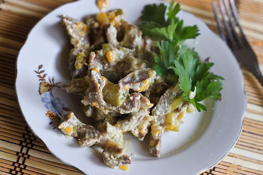 Желудочки куриные на сковороде