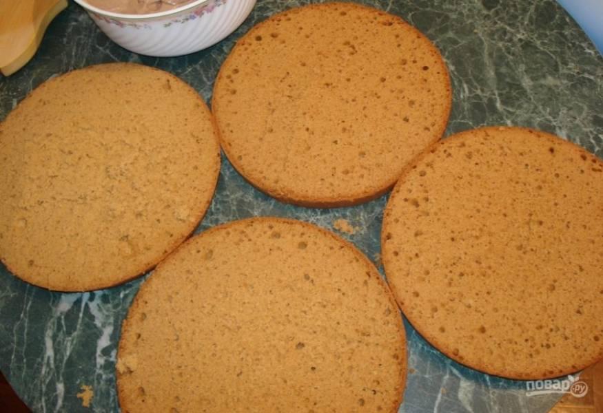 Потом дайте настояться бисквиту 10 минут с закрытой крышкой и ещё столько же с открытой. Разрежьте изделие на несколько коржей. Приятного чаепития!