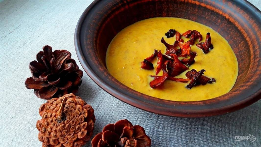 Крем-суп из тыквы с лисичками