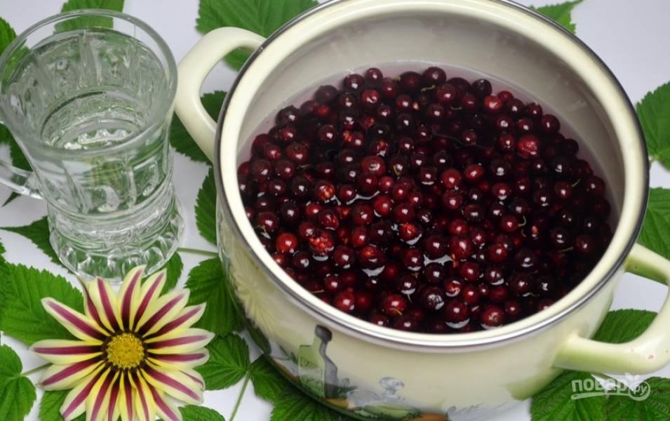 Переложите ягоды в кастрюлю, залейте их холодной водой.