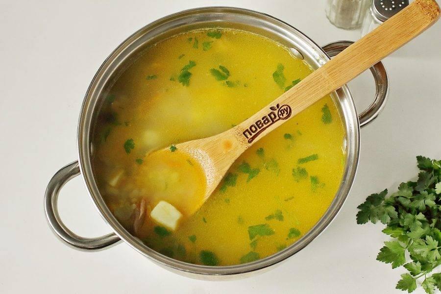 Снимите с огня и дайте готовому супу немного настояться.