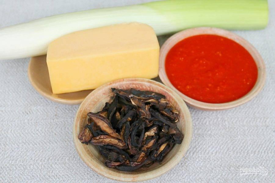 Ингредиенты для пицетты с грибами.