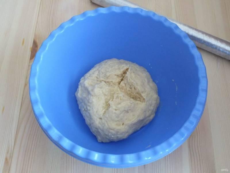 На полученном тесте сделайте крестообразный разрез, затяните плёнкой чашу и оставьте при комнатной температуре на 40 минут.