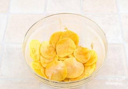 2. Посыпьте паприкой, мелкой солью, молотым перцем: черным и красным. Добавьте небольшое количество растительного масла. Достаточно одной столовой ложки на 500 грамм картофеля. Перемешайте так, чтобы картофельные слайсы покрылись с каждой стороны.
