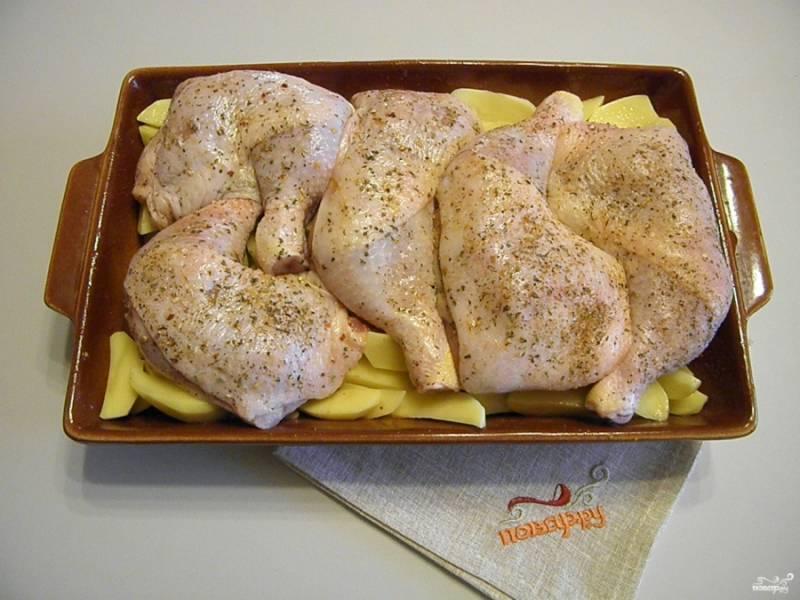 Окорочка выложите в форму для запекания, предварительно смазав её маслом. Я решила сразу приготовить и гарнир, поэтому положила окорочка на картофельную подушку, но это не обязательно. Окорочка посыпьте щедро специями для курицы, посолите. Поставьте противень в горячую духовку на 30 минут, температура 200-220 градусов.