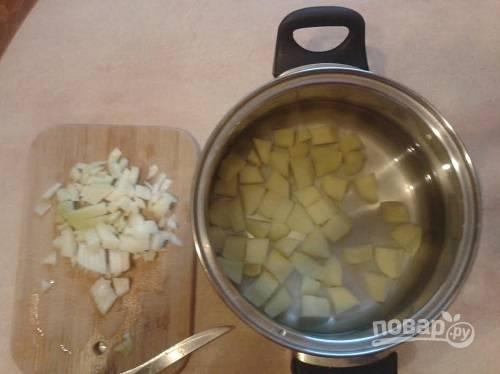 Картофель нарезаем небольшими кубиками и выкладываем в кастрюлю с водой. Ставим вариться. Лук нарезаем кубиками.