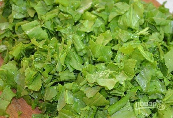 Щавель вымойте и обсушите бумажными полотенцами. Также нарубите листья ножом, но у же не так мелко, как вы это делали с предыдущей зеленью. Можно также порвать щавель руками.