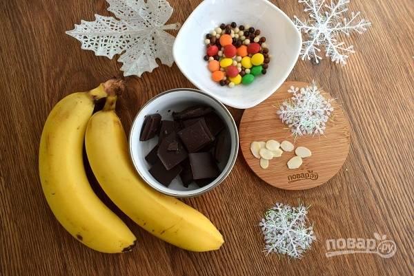 Подготовьте необходимые ингредиенты. Шоколад поломайте на кусочки.