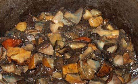 В казан наливаем подсолнечное масло, кладем порезанные грибы, солим, а затем тушим, пока не выпарится вся вода.