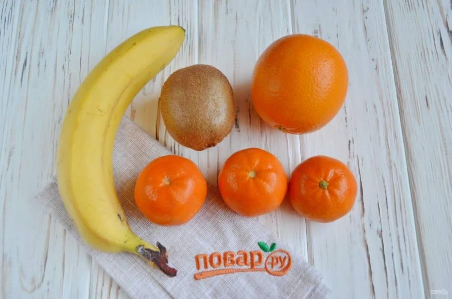 Подготовьте фрукты, вымойте и обсушите их. Приступим!