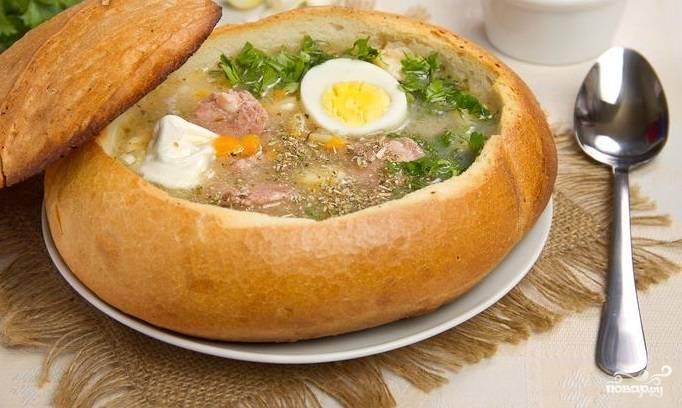Суп в хлебе по-польски