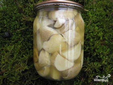 Маринованные белые грибы для супа