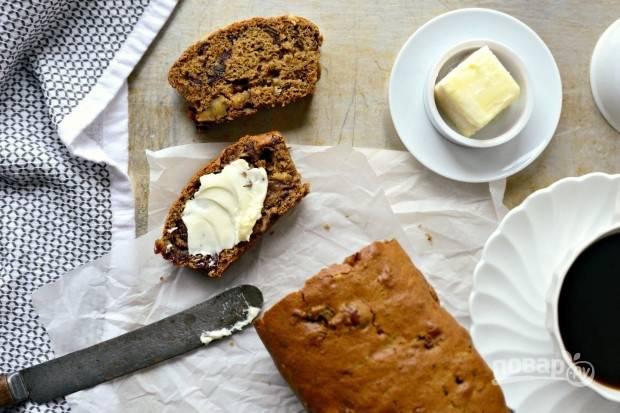 Запекайте хлеб при 180 градусах в духовке в течение 45 минут. Пробуйте выпечку остывшей. Приятного чаепития!