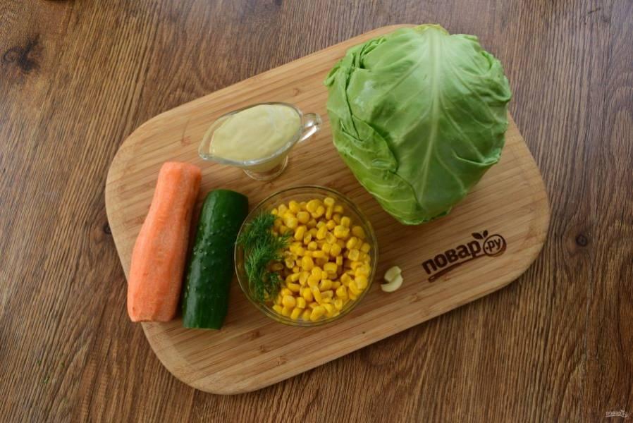Подготовьте необходимые продукты. Овощи и зелень вымойте, морковь и чеснок очистите.