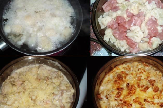 """Отварите капусту в кипящей воде до готовности, примерно 8 минут. Куриную грудку также нужно отварить до готовности, затем остудить и нарезать. Перекладываем капусту и курицу в форму для запекания и готовим в духовке 15 минут, температура 200 градусов. Параллельно приготовьте соус """"Бешамель"""". Растопите в сотейнике масло, добавьте муку и обжарьте ее 3-4 минуты. Вливаем молоко и доводим массу до кипения, солим, перчим и кладем мускатный орех. Варим 10 минут до загустения. Извлекаем форму с курицей и капустой из духовки, заливаем соусом. Присыпаем верхушку тертым сыром и еще раз готовим в духовке, пока верхушка не станет золотистого цвета."""
