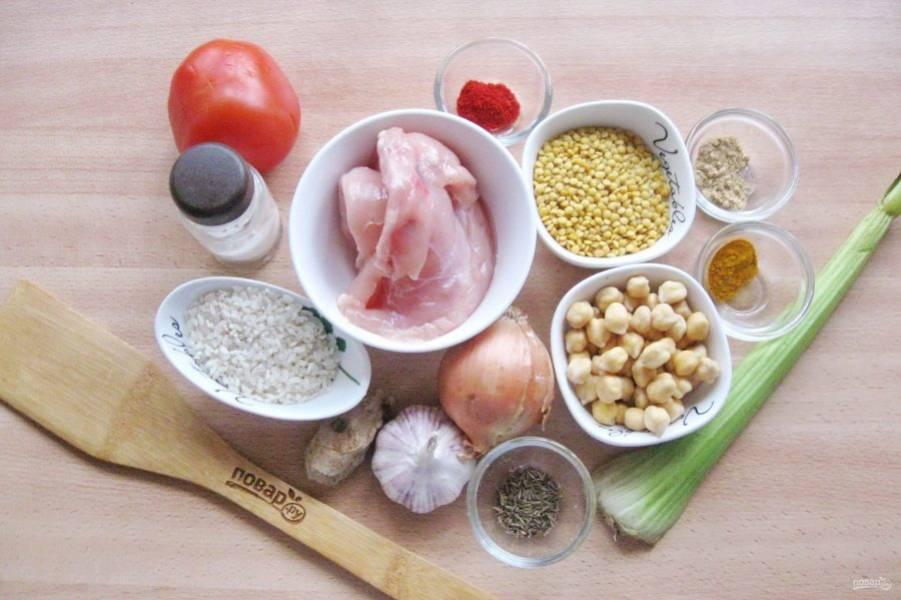 Подготовьте ингредиенты для приготовления супа.