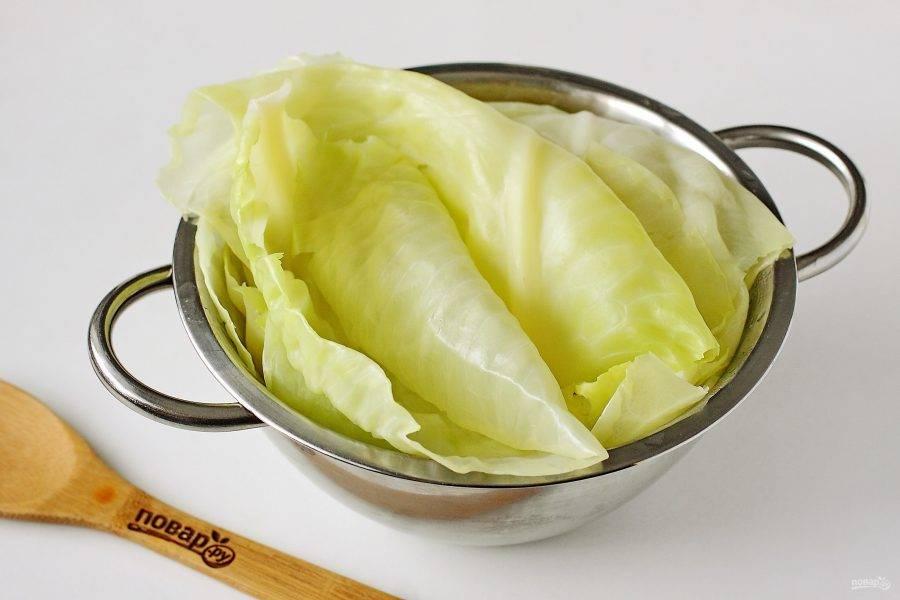 У капусты вырежьте кочерыжку и положите кочан в кипящую подсоленную воду. По мере размягчения листья необходимо снимать, пока не наберете нужное количество. Готовые листья откиньте на дуршлаг, чтобы стекла вся вода.