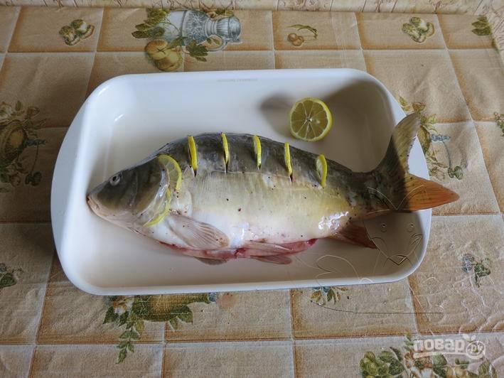 Карпа вымойте и почистите от чешуи, достаньте жабры. Сделайте глубокие надрезы поперек туловища рыбы. Вставьте в них кружочки лимона, рыбу полейте лимонным соком и присыпьте перцем с солью.