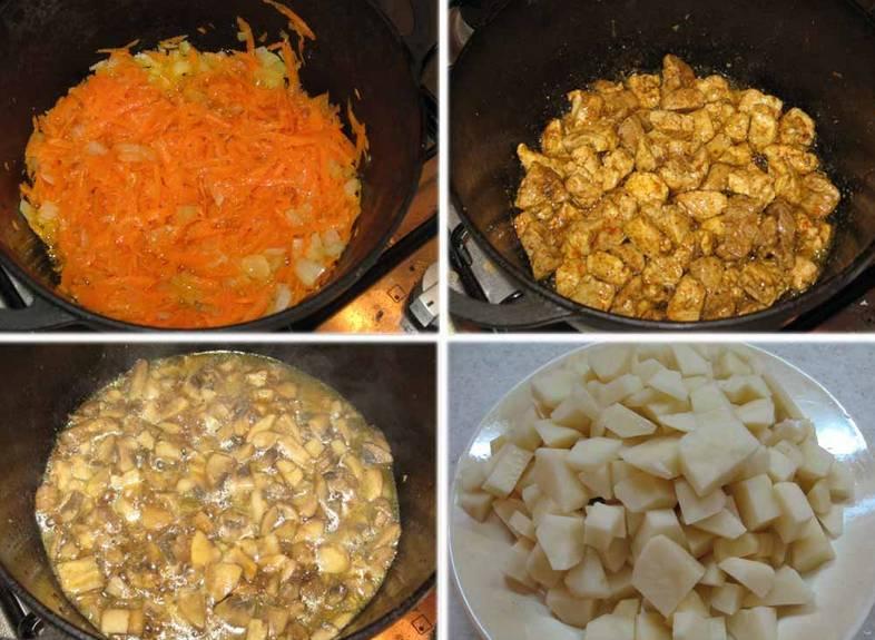 Лук и морковь промываем, очищаем и обжариваем на сливочном масле до полуготовности. По отдельности обжариваем порезанную свинину (соль, перец и карри по вкусу) и грибочки. Картофель очищаем и нарезаем кубиками.