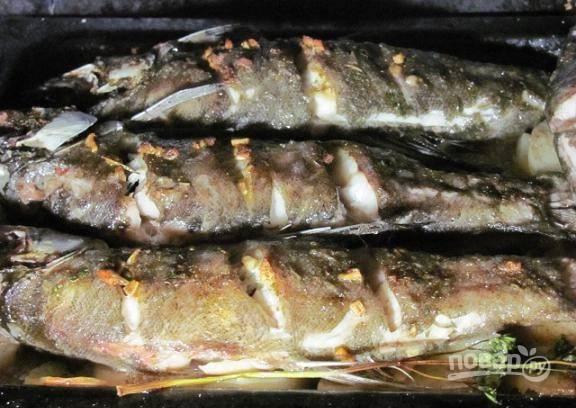 Духовку разогрейте до 200 градусов и запекайте все около 40 минут до готовности рыбы.