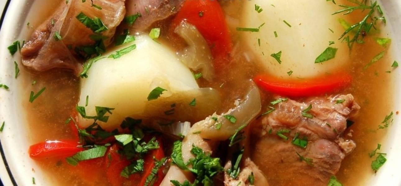 Варим шулюм до готовности овощей, примерно 15-20 минут. Затем снимаем казан с огня и даем супу настояться под крышкой 30 минут. Перед подачей на стол присыпаем его зеленью. Приятного аппетита!