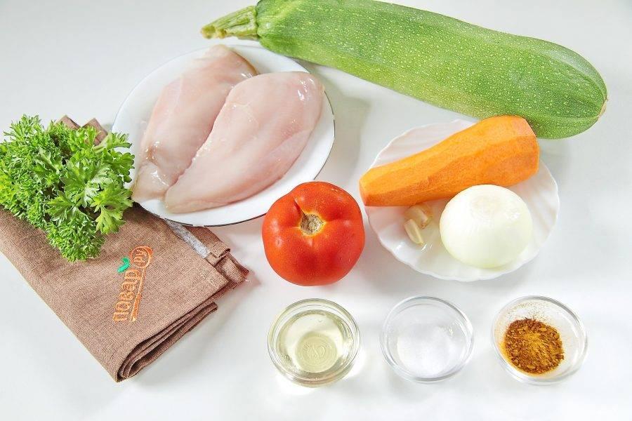 Подготовьте все ингредиенты. Куриное филе заранее разморозьте.