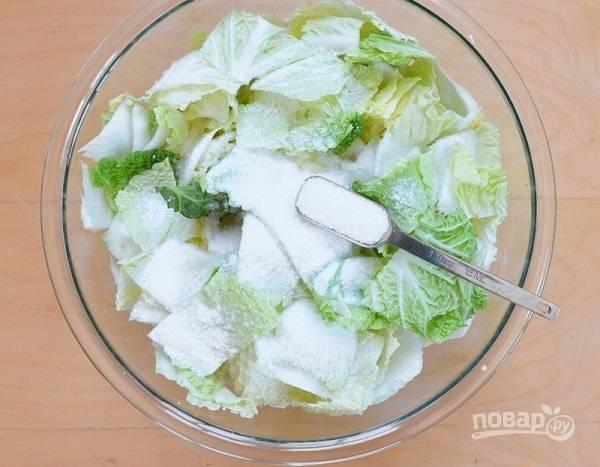 3. Выложите капусту в глубокую мисочку и добавьте соль. Аккуратно перемешайте так, чтобы соль равномерно распределилась. Оставьте на 1-2 часа.