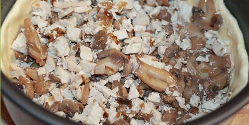 3. Теперь достаем тесто, раскатываем его по размеру мультиварки, выкладываем, формируя бортики. Обжаренные грибы и отварную курицу - сюда же. Специи - по вкусу.