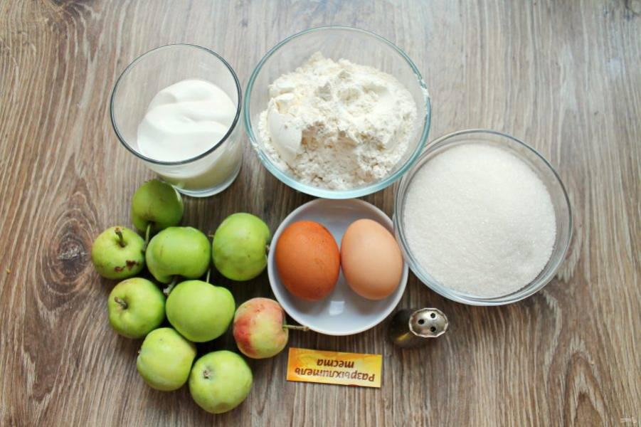 Подготовьте все необходимые ингредиенты для приготовления шарлотки с яблоками на сметане в мультиварке. Яблоки вымойте и обсушите.