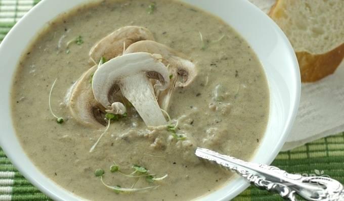 Суп из шампиньонов с сыром плавленным