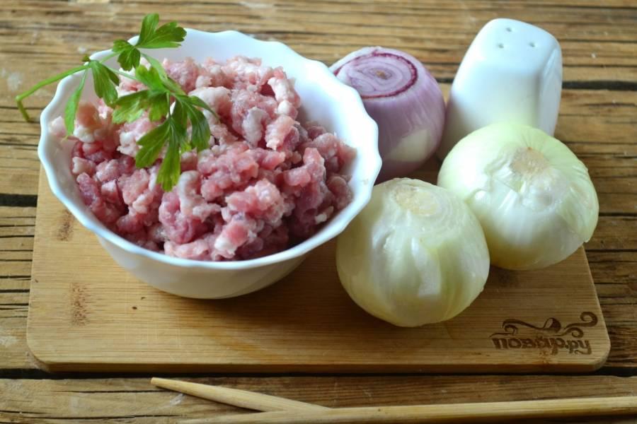 1. Подготовьте все необходимые ингредиенты. Я всегда использую не готовый покупной фарш, а собственного производства, из свежего мяса. Очень важно: мясо для люля-кебаба должно быть достаточно жирным, чтобы готовое блюдо получилось не сухим, а достаточно сочным.