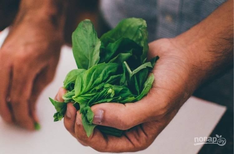 1.Вымойте базилик, отделите листья от стеблей.