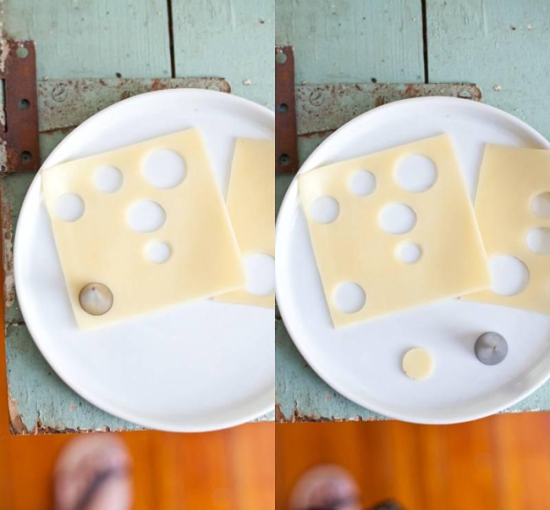 В магазине выбираем сыр в нарезке. В ломтике сыра вырезаем аппетитные дырочки :)